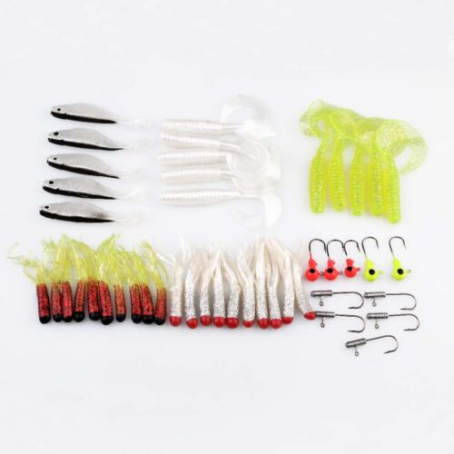 Fishing Lures Bait Tackle Soft Small Jig Head Box Set Simulation FreeColor