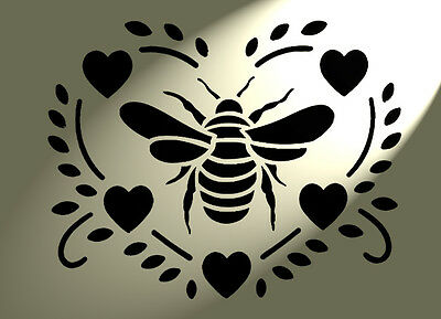 Solitarydesign Shabby Chic Stencil Bumble bee Heart back Rustic Mylar Vintage A4 297x210mm furniture wall art