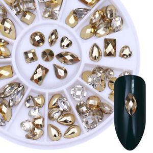 Nail-Art-Rhinestone-Marquise-Heart-Studs-3D-Decoration-Glitter-Mix-Shape-Size