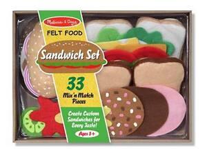 FELT-FOOD SANDWICH SET # 3954 ~ 33 mix & match pieces ages ~ Melissa & and Doug
