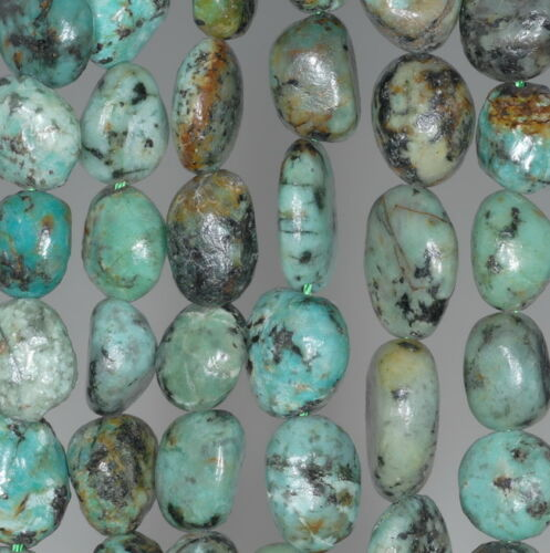 """9-11MM AFRICAN TURQUOISE GEMSTONE PEBBLE NUGGET LOOSE BEADS 15.5/"""""""