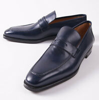 $1295 Sutor Mantellassi Navy Blue Calf Leather Penny Loafer Us 14 D Shoes on sale