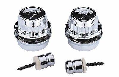 GENUINE FENDER CHROME F Logo Strap LOCKS & Buttons For TELE Telecaster & STRAT ~