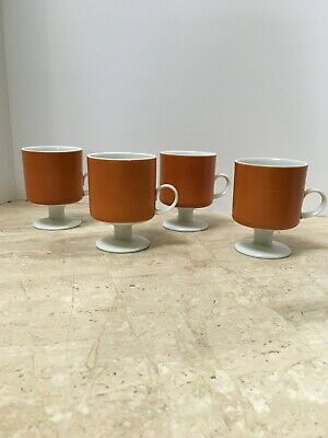Ff Fritz And Floyd Vintage Orange And White Footed Coffee Mugs Ebay