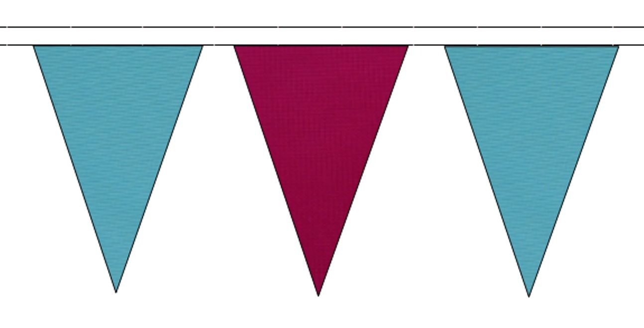 Sky Blau & Claret Triangular Flag Bunting - 50m with 120 Flags