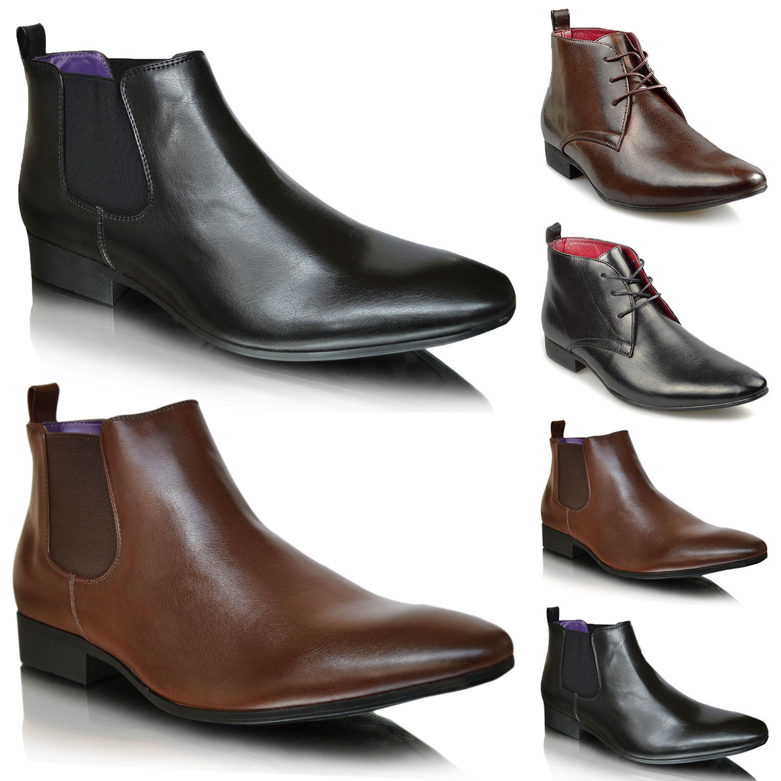 Xelay Mens Leather Smart Formal Dress Casual Chelsea Boots shoes UK SIZES 6-11
