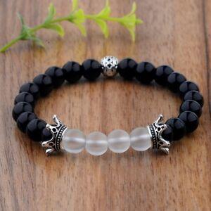 Confiant Nouveau Couronne Noir Natural Gemstone Handmade 8 Mm Agate Perles élastique Bracelets-afficher Le Titre D'origine Performance Fiable