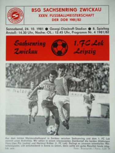 Lok Leipzig Programm 1981//82 BSG Sachsenring Zwickau