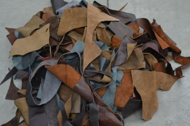 Small Upholstery Scrap leather 3-4 oz Cowhide 1 pound remnants color mix