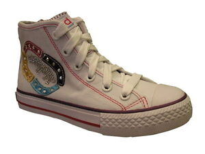Ecko White Hi Top Chalsie Ceejay Canvas Girls Trainer Various Sizes