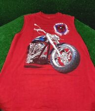 Faded Glory Red Sleeveless Shirt Motorcycle Bike Flag Ride Youth 18  XXL Men XS