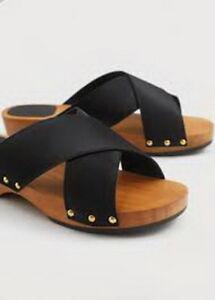 928199d107ce28 NWT MANGO (ZARA GROUP) WOOD BLACK SATIN SANDALS Shoes - US 7.5  UK 5 ...