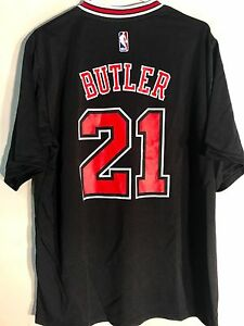 Adidas-NBA-Jersey-Chicago-Bulls-Jimmy-Butler-Black-Short-Sleeve-sz-M