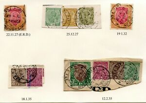 BURMA-LATE-FEE-CANCELS-1927-35-KG5-11-stamps