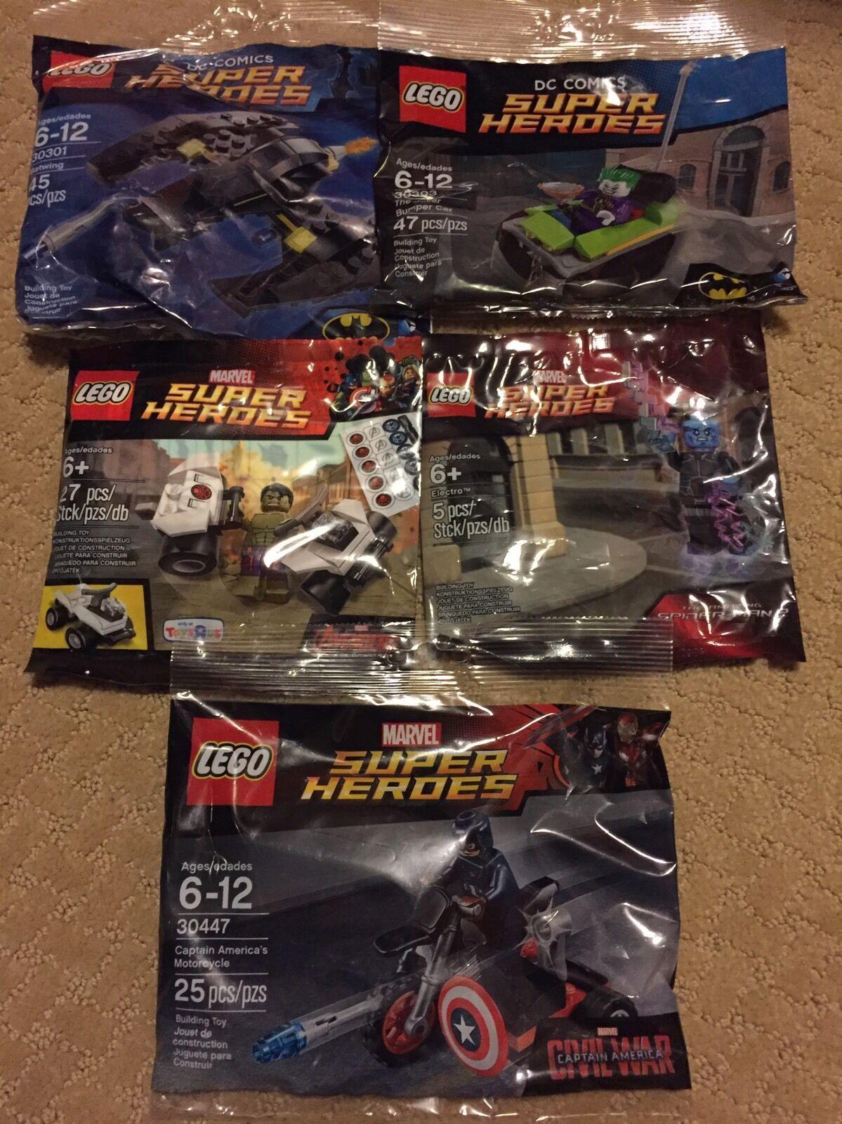 Lego Lego Lego Super Heroes Polybag Lot 5 - Captain America, Hulk, Electro, Joker, Batwing 78b1f4
