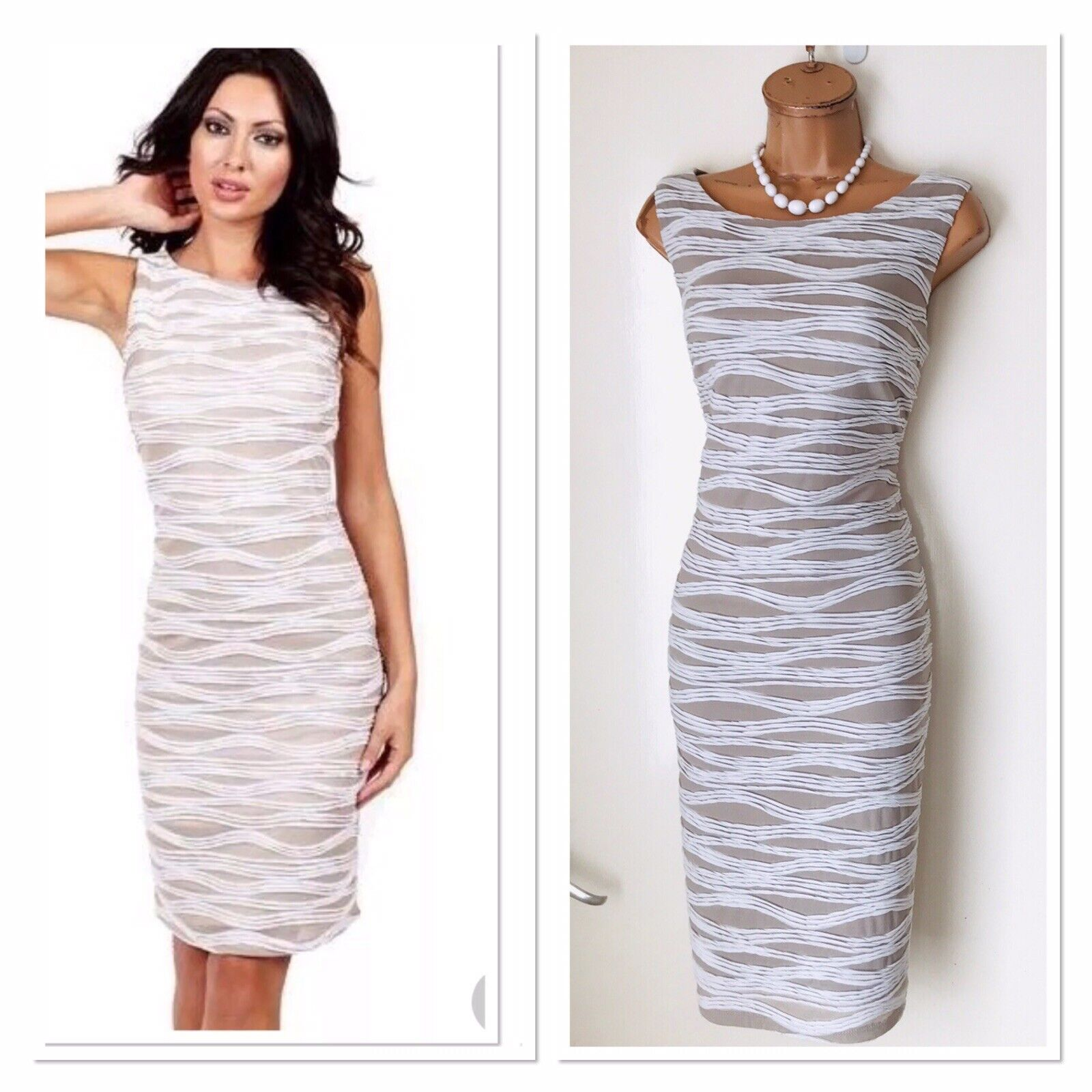 FRANK LYMAN Taupe  Ivory Striped Stretchy Bodycon Dress Uk 12