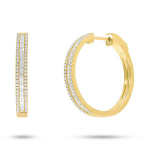 0.88 Ct 14 K Yellow Gold Channel Set Natural Baguette Cut Diamond Hoop Earrings by Sage Designs L.A.