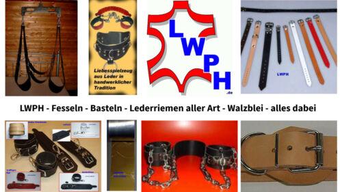 4 Leder-Riemen schwarz Rollschnalle 3,0 x 50,0 cm Lederriemen Fixierungsriemen