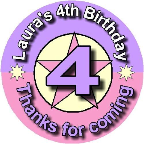 Personnalisé anniversaire stickers 40 mm ou 60 mm Star tout âge DESIGN Anniversaire