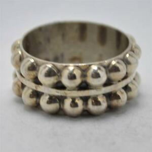 T14D01-Vintage-Art-Deco-Style-Double-Beaded-Band-Sterling-Silver-Ring-Size-6-75