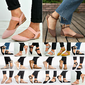 Women-Ankle-Strap-Ballet-Flats-Court-Pumps-Summer-Casual-Comfy-Shoes-Sandal-Size