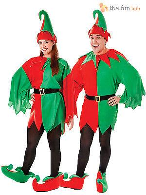 Adult Elf Costume Hat +Boots Mens Ladies Christmas Fancy Dress Santas Helper