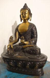 ALTE, kleine aber sehr FEINE Medizin Buddha Bronze Statue aus Nepal 1,1 Kilo