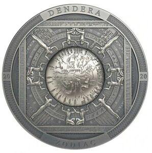 2020 3 Oz Silver $20 Cook Island DENDERA Zodiac Egypt, Antique Finish Coin.