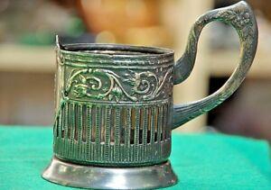 Vintage-Russische-Sowjetische-Melchior-Podstakannik-Tee-Glas-Halter