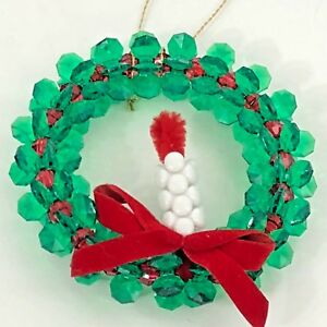 Vintage-Beaded-Wreath-Christmas-Ornament-Homemade-Craft-Green-Red-Candle