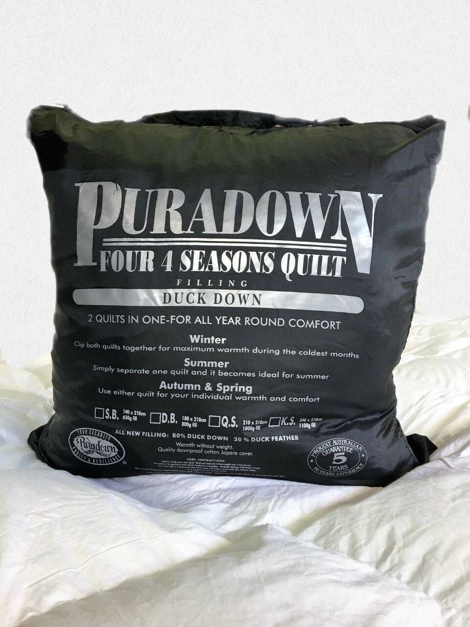 Puradown 4-Seasons Clip Together 80% Weiß Duck Down and 20% Feather Duvet Quilt