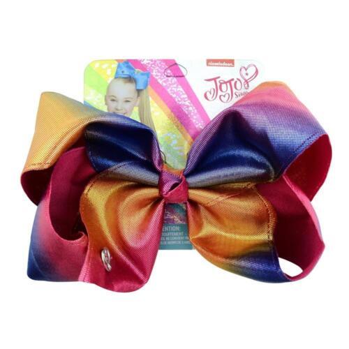 "JoJo Siwa 8/"" Bow w//  Alligator Clip Leather Glitter Rainbow Mermaid Clips Bling"