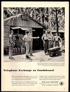 1943-WWII-USMC-US-Marines-Guadalcanal-South-Pacific-WW-II-Bell-Telephone-AD