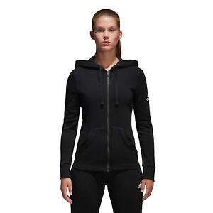 new style fd6ae ee48b Dettagli su Adidas Donna Felpa con Cappuccio Essentials Lineare Cerniera  Intera Palestra
