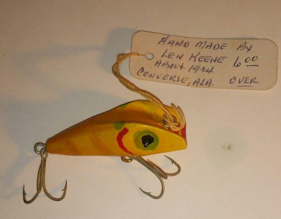Vintage Len Keene Folk Art Old wood fishing lure Rare Bait 1934 Hand Carved NICE