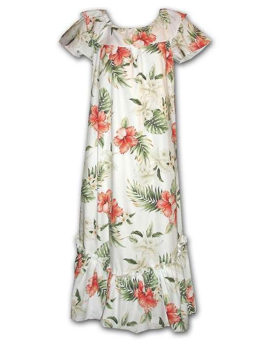 Long MuuMuu White   Ko Olina  Hawaiian Print Made in USA S-3XL