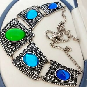 Vintage-Tribal-Style-Large-Statement-Blue-Green-Glass-Cabochon-Bib-Necklace-2