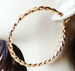 Image Is Loading Large 3 Inch Hoop Earrings Gold Plated Rope