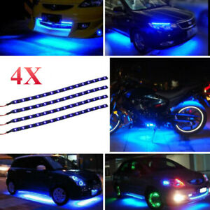 4pcs-30CM-15-LED-Car-Motors-Truck-Flexible-Strip-Light-Waterproof-12V-KDS-Blue