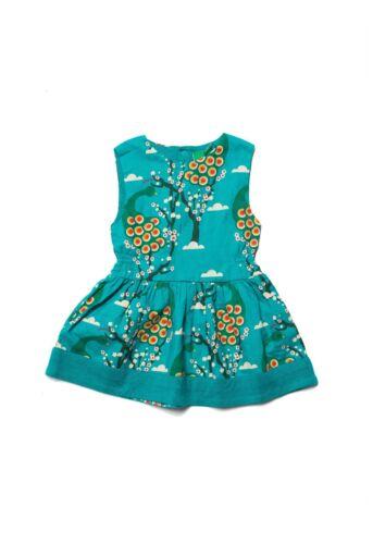 Little Green Radicals Organic Midnight Peacock Blue Gathered Dress 0 3 9 12  LGR