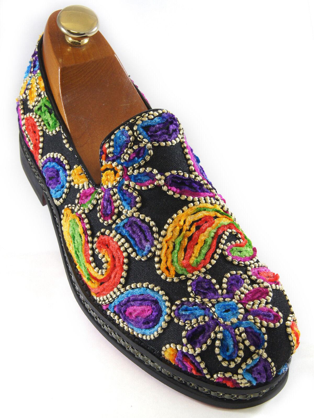 Fiesso Mens Multicolor Floral Stitchwork Paisley Pattern Embellished Loafer shoes