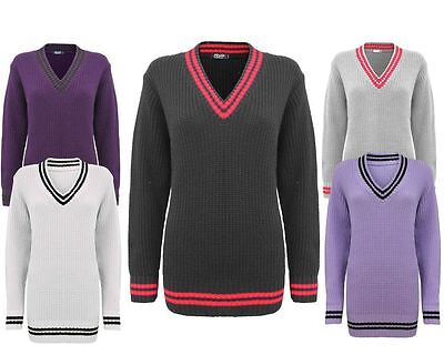 Ladies Women Jumper Chunky Knitted Over Sized V-Neck Cricket Top Baggy Sweater