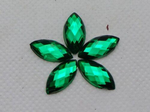 200 Green Acrylic Flatback Faceted Horse Eye Rhinestone Gems 7X15mm No Hole