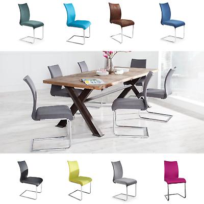 Moderner Design Freischwinger Stuhl SUAVE FARBWAHL Chrom