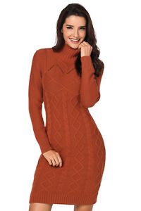 9e346f30e9e Image is loading Cable-Knit-High-Neck-Sweater-Dress-Avalable-In-
