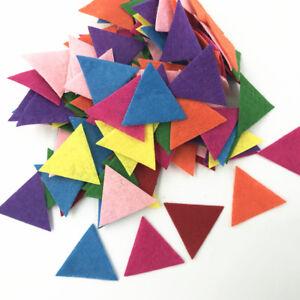 100pcs Mixed Colors Die Cut triangle Felt Appliques scrapbooking decoration 30mm
