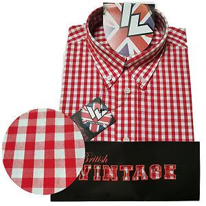 Warrior-Short-Sleeve-Button-Down-Shirt-FITZ-Mod-Skinhead-Red-White-Gingham