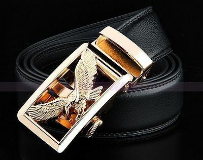 Luxury Business Mens Eagle Automatic Buckle Dress Leather Waistband Strap Belts
