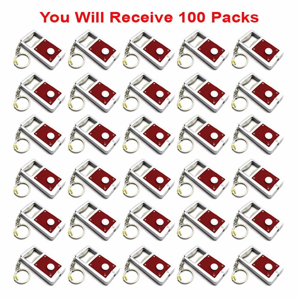100x Keychain Keyring Mini LED Light + Bottle Opener Tool Accessory Gift USA