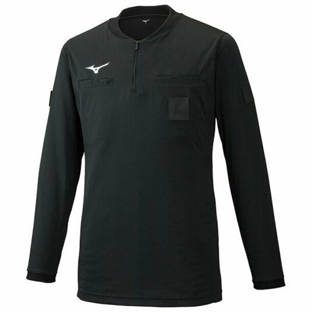 Mizuno Japón Fútbol Árbitro Jersey Camisa Manga Larga Negro P2MA9A02
